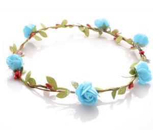 Hårkrans - Gröna blad & rosor blå